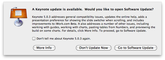 A Keynote update is available. Would you like to open Software Update ?