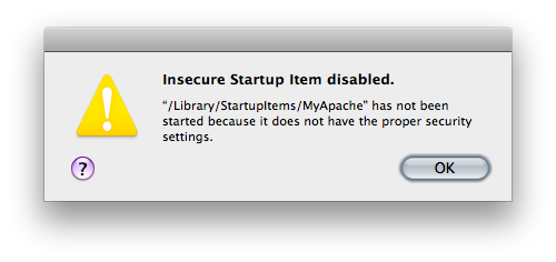 The error message saying a startup item has been disabled