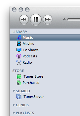 iTunes shows the remote library